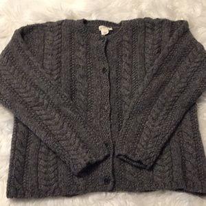 J. Crew Chunky Gray Cardigan Sweater Size L